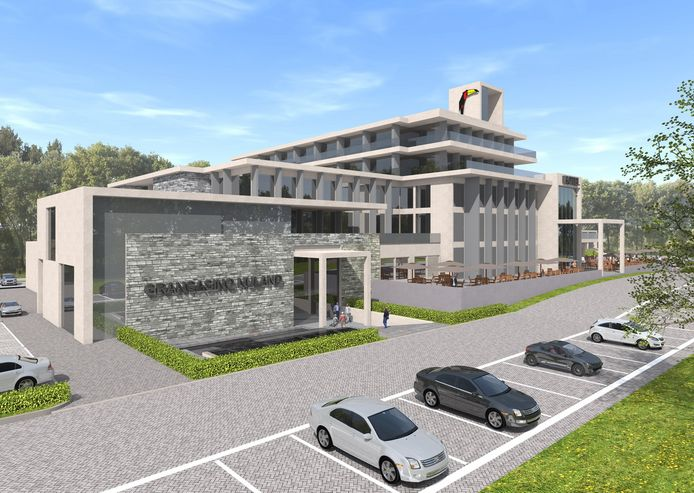 Impressie van de nieuwbouw met de ingang van het casino.