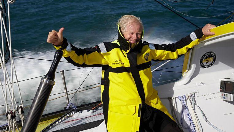 Pieter Heerema op zijn zeilboot No way back. Beeld null