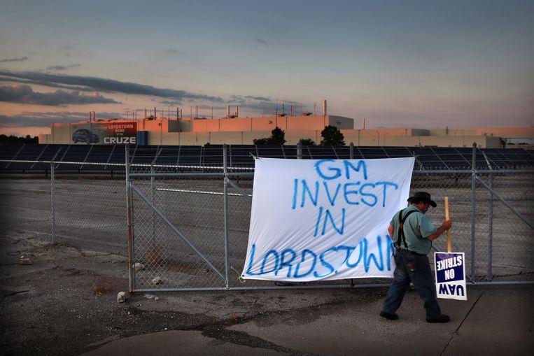 Een verdwaalde noodkreet aan GM om te investeren in het complex in Lordstown. Beeld Boston Globe via Getty Images