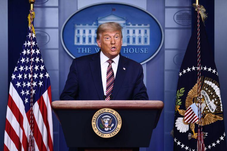President Trump donderdagavond tijdens zijn speech. Beeld AFP
