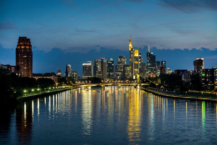 Het financiële district van Frankfurt, waar de Europese Centrale Bank gevestigd is. Beeld Getty Images