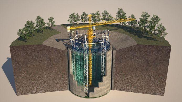 Een impressie van de ondergrondse energieopslag in een Ecovat zoals die bij Het Dorp in Arnhem zou worden gebouwd.