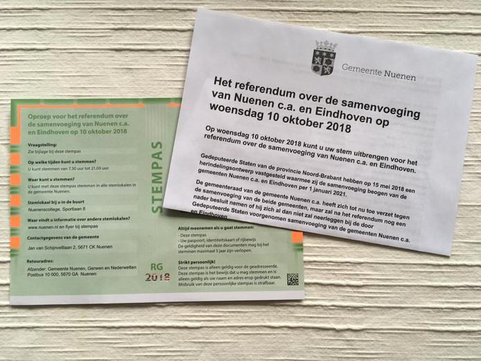 Stempas voor het referendum over de herindeling in Nuenen