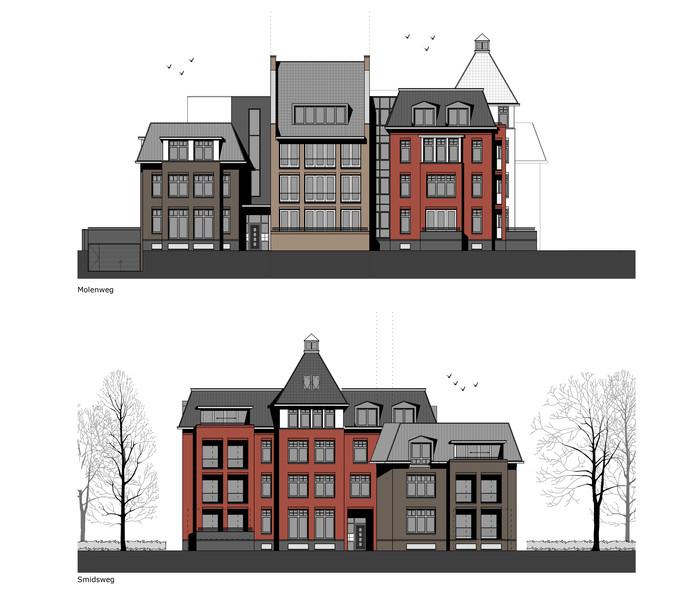 Een impressie van de gevels van het nieuwe appartementencomplex op de hoek van de Molenweg en de Smidsweg in Nijverdal.