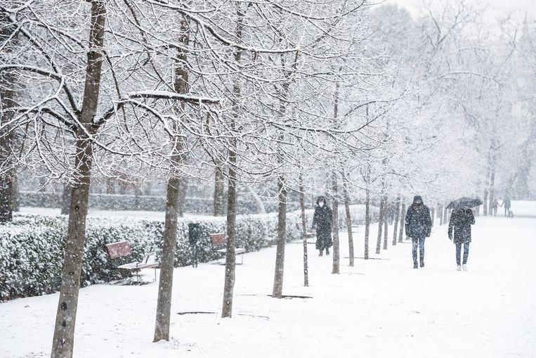 Hevige sneeuwval in Madrid. Beeld EPA