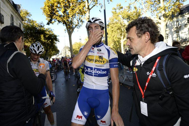 Wallays kan het amper geloven: na Parijs-Tours bij de beloften heeft hij nu ook de winst bij de grote jongens beet. Beeld PHOTO_NEWS