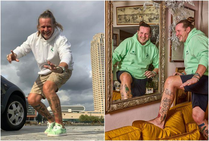 """Willem van Wijk in de spiegel en zoals mensen hem op straat treffen: ,,Mijn onderbenen zitten inderdaad vol met Rotterdamse tattoos . Die show ik met trots."""""""