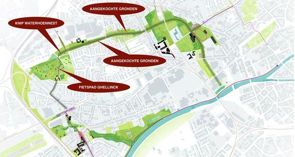 Een plannetje met duiding over hoe de fietssnelweg nu verder vorm zal krijgen