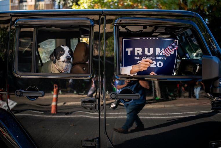 Trump-fans in Texas geven de moed niet op. Beeld Hollandse Hoogte / AFP