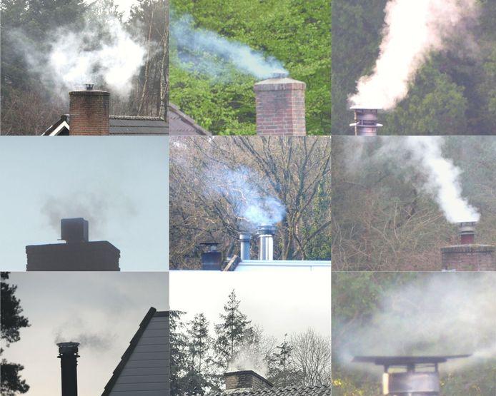 Collage van schoorstenen van woningen in de Peter van Anrooylaan en omgeving, in Dieren. Foto's zijn gemaakt door omwonenden.
