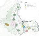 Zoekgebieden voor 'clusters van windmolens in de Cleantech Regio. Een samenwerkingsverband van de gemeenten Lochem, Zutphen, Brummen, Voorst, Apeldoorn, Epe en Heerde. Voorster Klei ligt in het gele gebied.