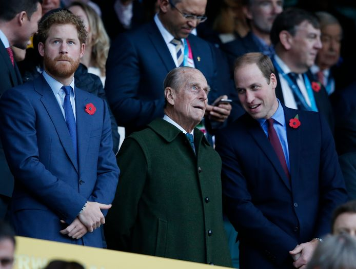 Prins Harry, Philip en William.