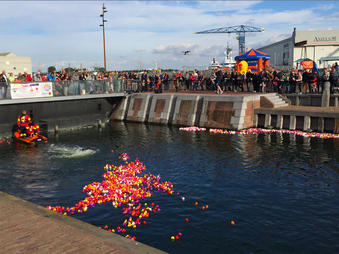Bijna vierduizend plastic eendjes werden in het Dokje van Perry losgelaten.