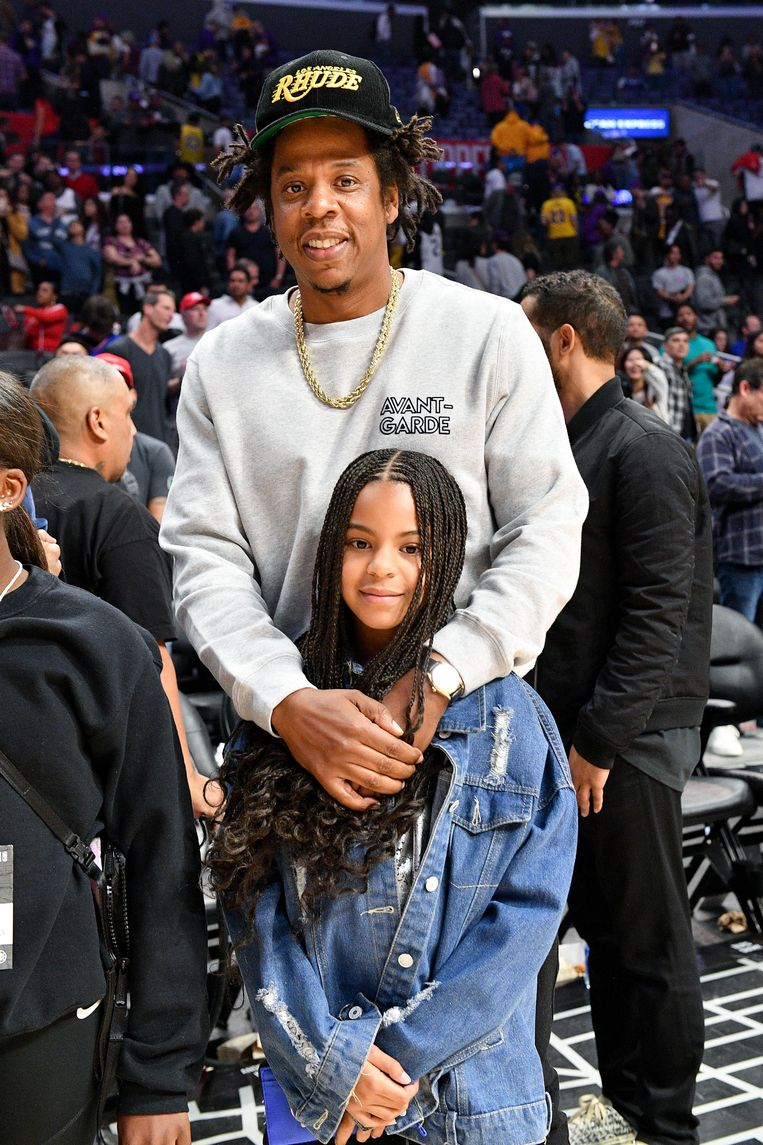 Jay-Z and dochter Blue Ivy Carter. Beeld Getty Images