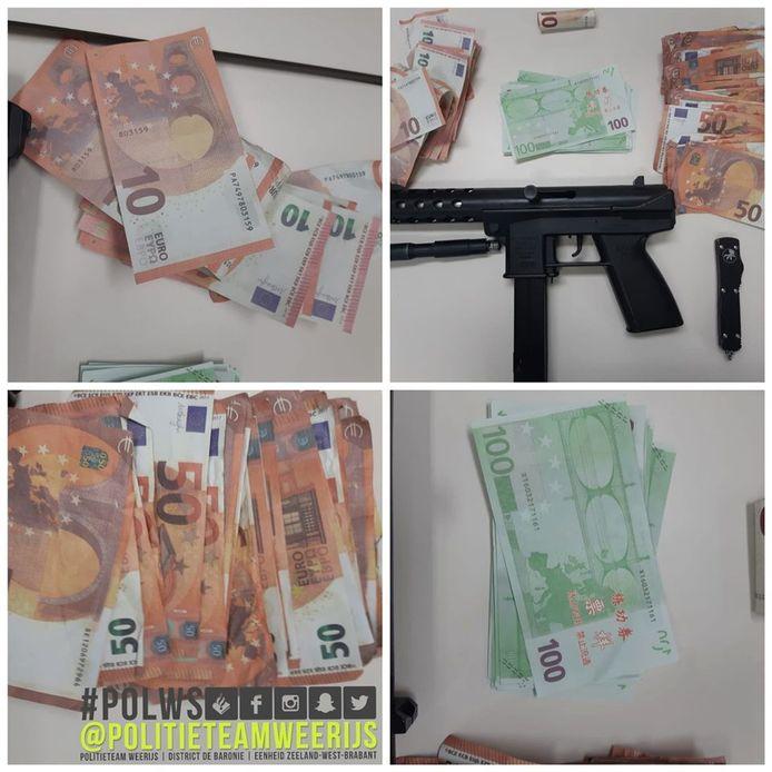 In een woning aan de Ambachtenlaan in Breda heeft de politie 4200 euro vals geld, een nep vuurwapen en een stiletto gevonden.