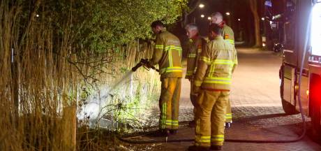 Bermbrand in Apeldoorn: brandweer zet groot materieel in om uitbreiding te voorkomen