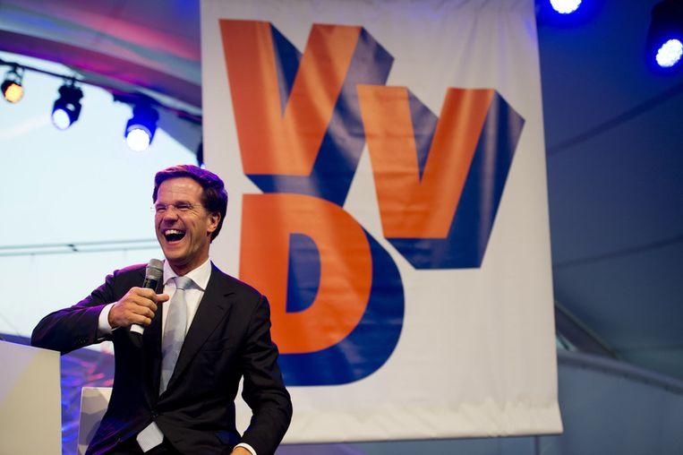 Mark Rutte op een bijeenkomst van de VVD. In 2012 werd hij voor de tweede keer premier, nadat zijn regering (gevormd in 2010) gevallen was door toedoen van Wilders. Beeld belga