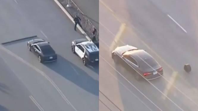 Gestolen Audi verliest autobanden tijdens achtervolging