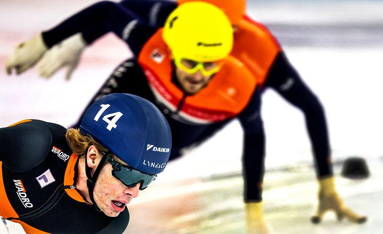 Jens van 't Woud tijdens de finale van de 1.500 meter van de NK allround. Beeld Klaas Jan van der Weij / de Volkskrant