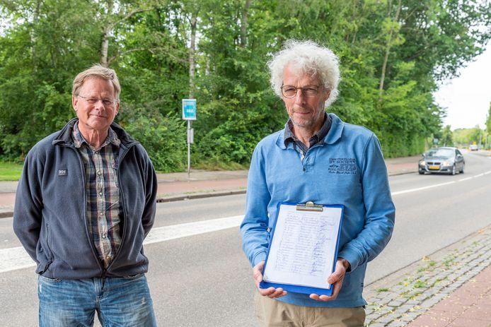 Theo Santegoets (rechts) verzamelde ruim 300 handtekeningen om de Molensingel in Wouw naar 30km/u weg te wijzigen. Dit initiatief is hij samen gestart samen met Han de Smet (links)