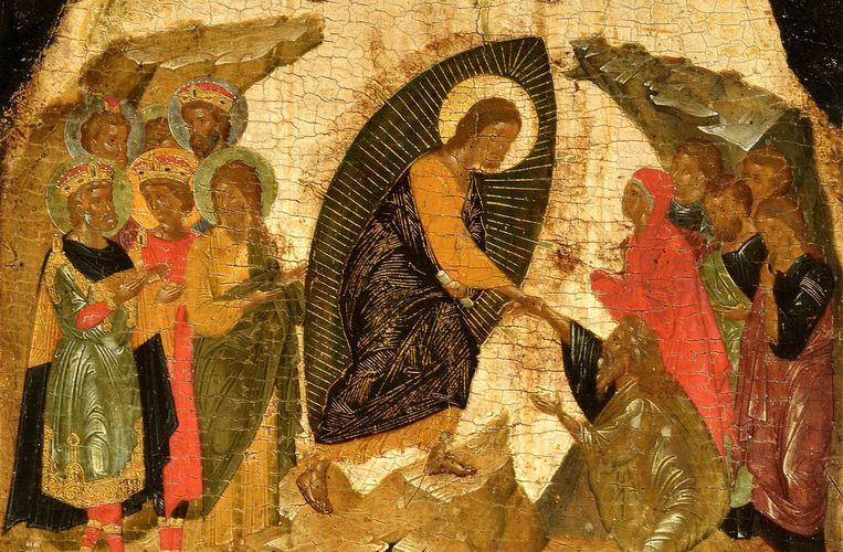Detail van het icoon van de verrijzenis van Christus van Angelos Akotantos. Beeld rv