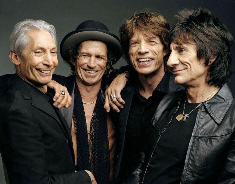 The Rolling Stones, van links naar rechts: Charlie Watts, Keith Richards, Mick Jaggers en Ron Wood. Beeld PETER TAHL