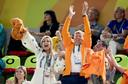 Koning Willem-Alexander en koningin Maxima juichen voor de gouden oefening van Sanne Wevers tijdens de Olympische Spelen in Rio vijf jaar geleden.