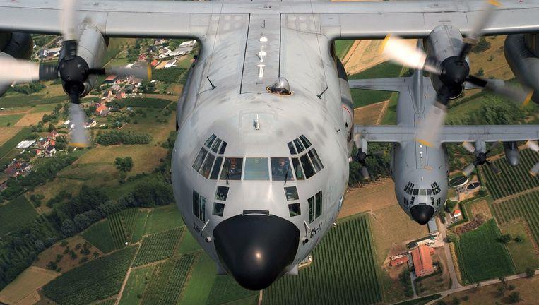 Een Belgische C-130 'Hercules' tijdens een oefenvlucht.