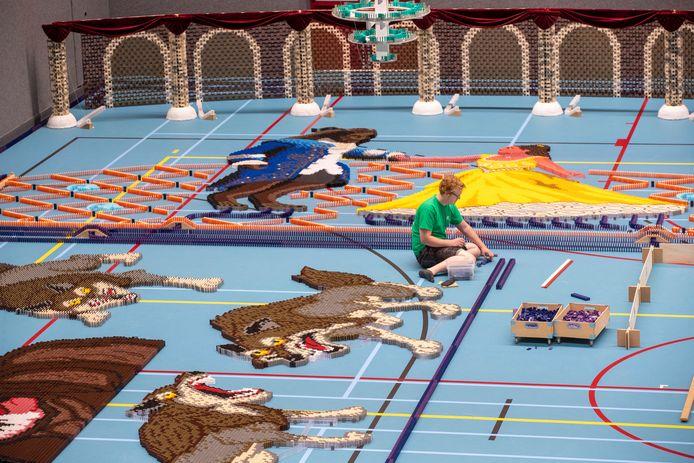Wolven in dominostenen. Het Dutch Domino Team doet een recordpoging om 600.000 dominostenen neer te zetten in Sporthal de Vallei in Veenendaal.
