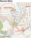 Schematische weergave van Nuenen-West en het wegenplan voor de nieuwbouwwijk.