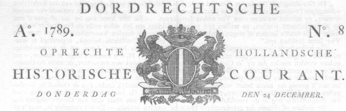 De Dordrechtsche Courant in 1789.