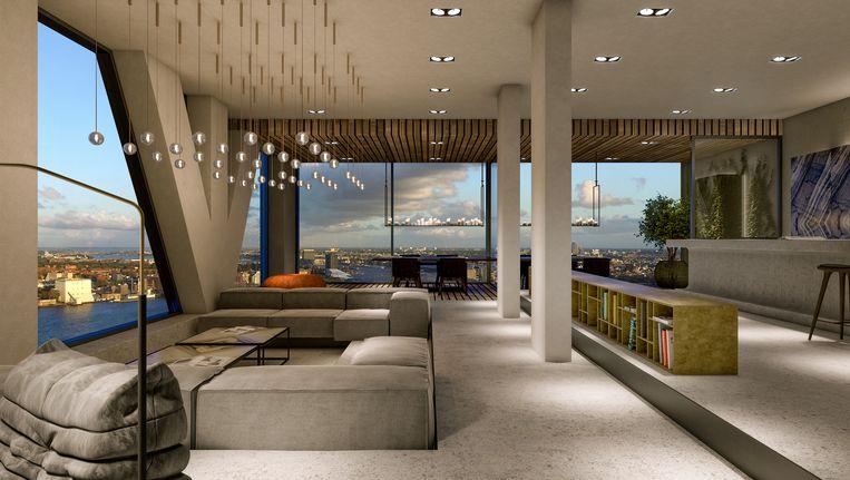 Het gecombineerde penthouse zal in totaal 1.440 m2 beslaan Beeld artist impression