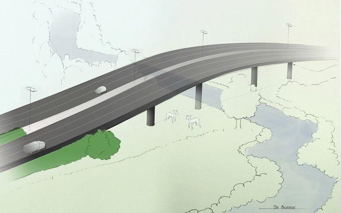 Een schets van de beoogde A58-ecopassage over de Beerze bij Spoordonk.