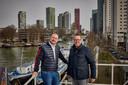 Ontwikkelaars René Perridon (links) en Juriaan van Woerkom op het dak van hun kantoor. Precies op die plek wilden ze ook de Marinatoren bouwen.