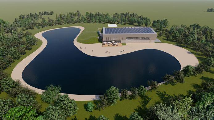 De Egyptische Poort in Bladel: Aan een nieuw te creëren waterplas komt het nieuwe binnenzwembad met horeca.