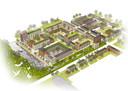Dezelfde wijk als in de tekening bovenaan dit artikel na de 'verdichting' die KAW heeft toegepast.
