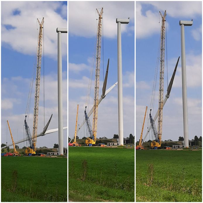 Een collage van het ophijsen van het wiekenkruis van de windmolen bij Zaltbommel.