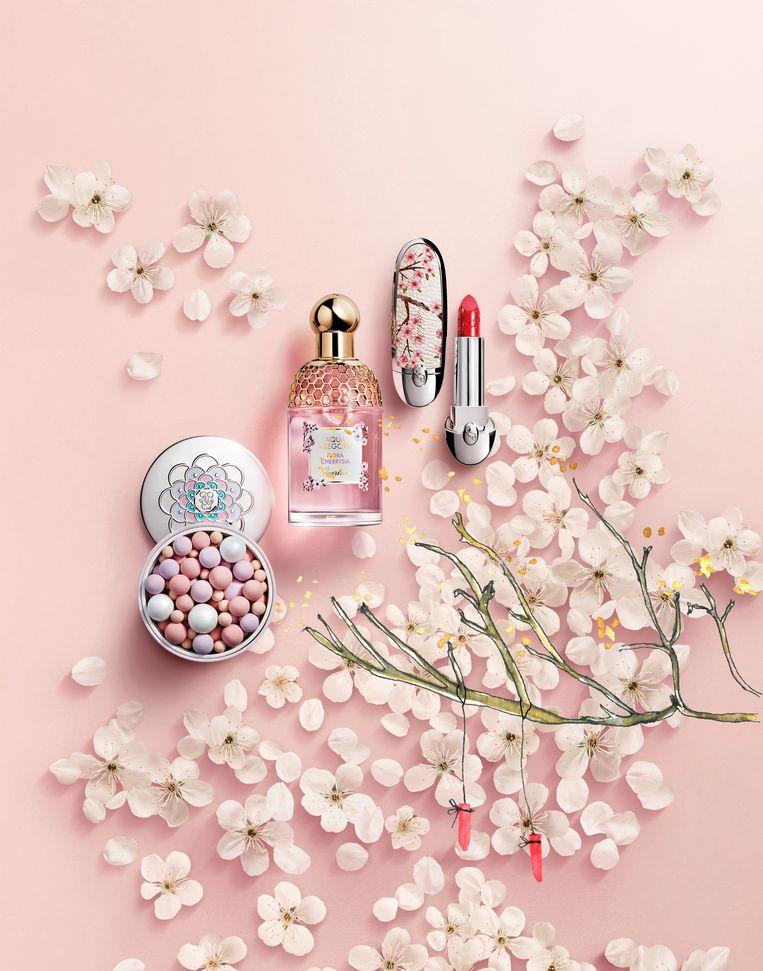 Cherry Blossom-collectie van het Franse huis Guerlain. Beeld illustratie Vanessa Oostijen