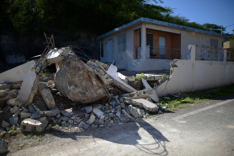 Ook in Guanica richtten de bevingen veel schade aan. Beeld AP