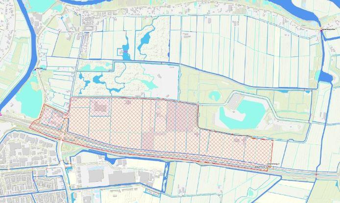 Op deze kaart is te zien in welk gebied het water is vervuild. Het gaat om het rood gekleurde gebied.