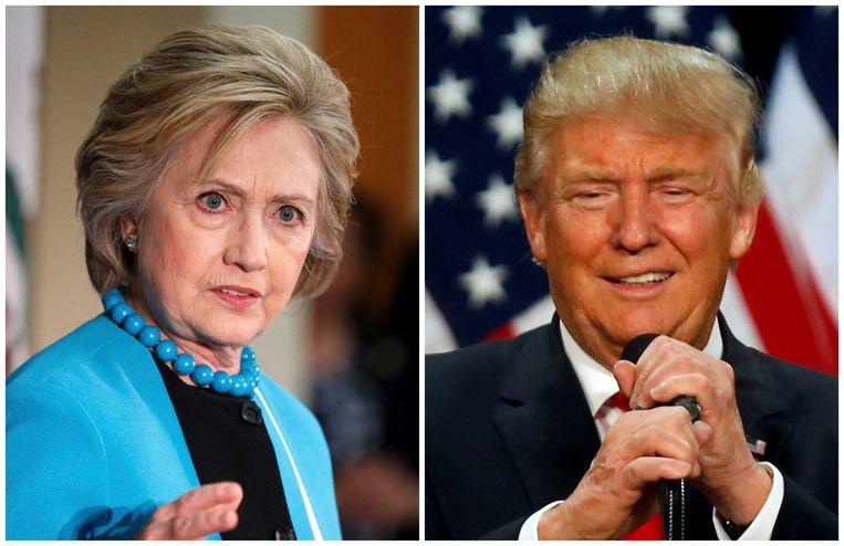 Hillary Clinton (L) en Donald Trump (R). Beeld REUTERS