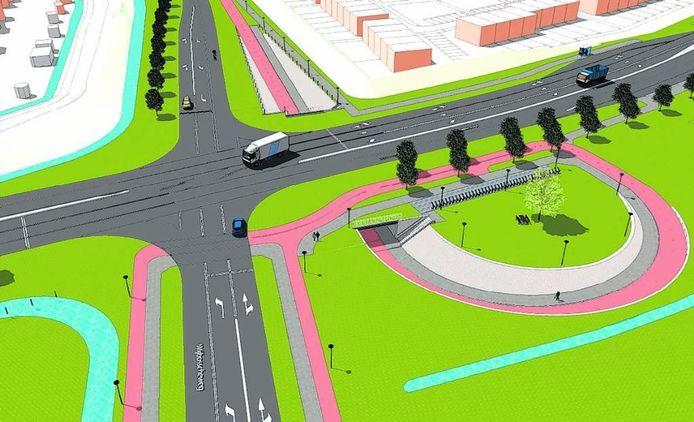 Een impressie van de nieuwe kruisingStructuurweg/Wijbosscheweg met rechts de tunnel.