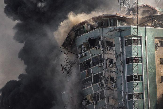 La tour Al-Jalaa abritait de nombreux journalistes dont ceux de l'agence AP (Associated Press) et Al-Jazeera