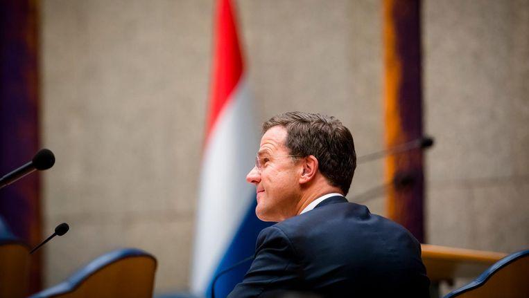 Premier Mark Rutte tijdens het debat over het afschaffen van de dividendbelasting. Beeld anp