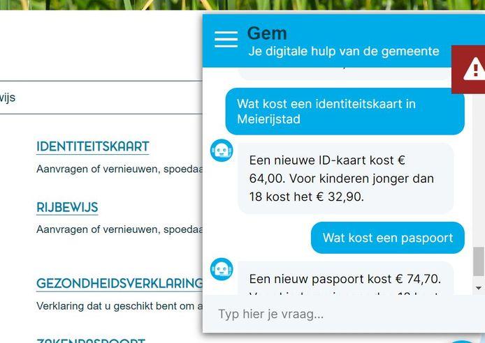 Een blik op Gem, de nieuwe virtuele dienstverlener van de gemeente Meierijstad.