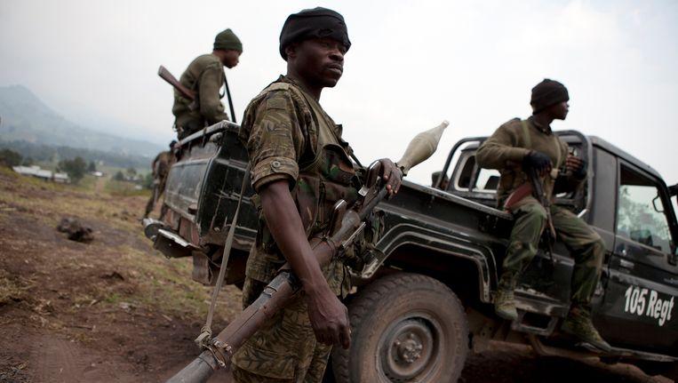 Soldaten in Kibumba. Beeld REUTERS