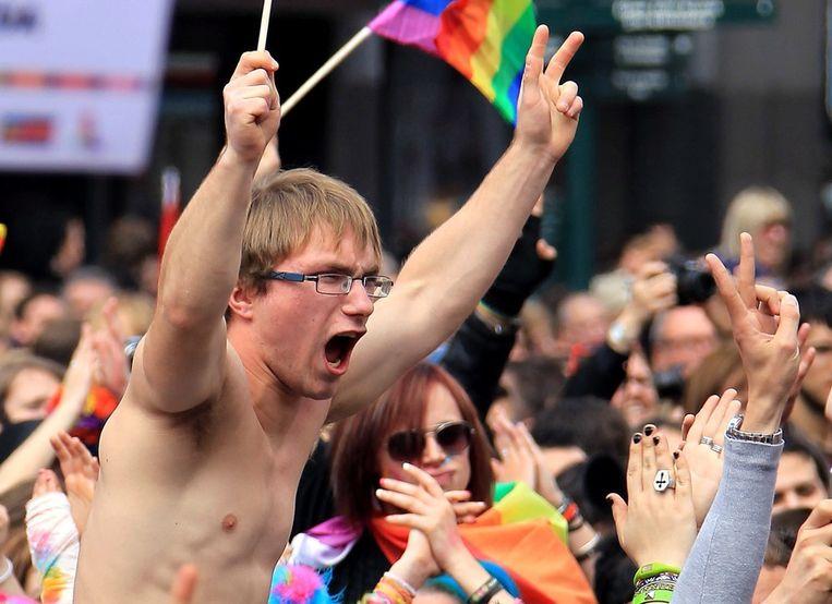 Na de minuut stilte was er een schreeuw tegen homofobie. Beeld EPA