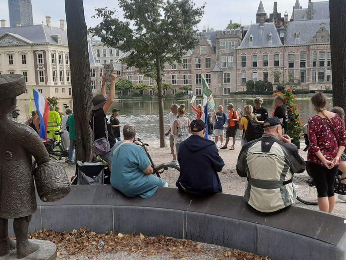 Enkele betogers bij de Hofvijver.