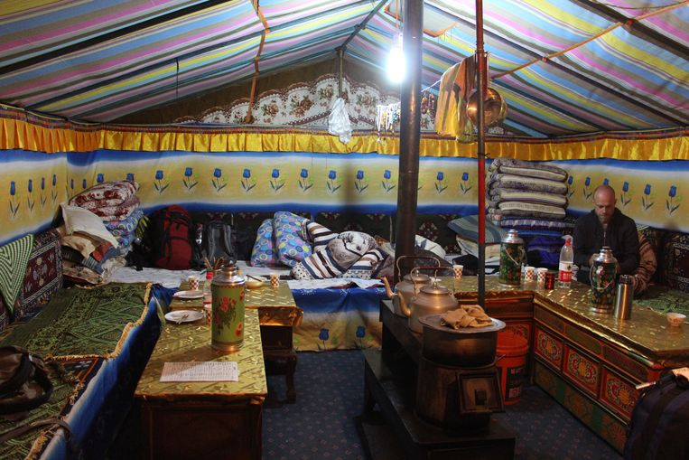 Slaapplaats op Mount Everest North Base Camp. Beeld RV
