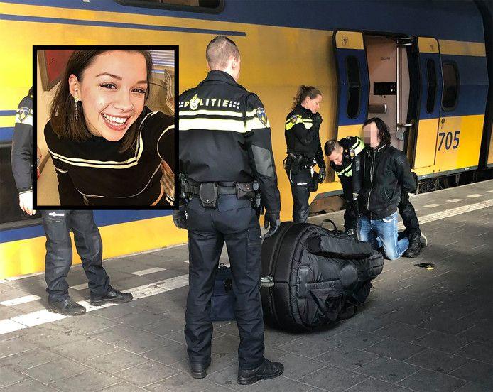 Sarah Papenheim (inzet) en de arrestatie van Joël S. op het station van Eindhoven.